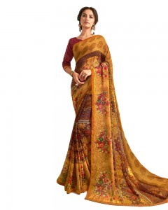 Comet Busters Mustard Yellow Printed Saree With Blouse