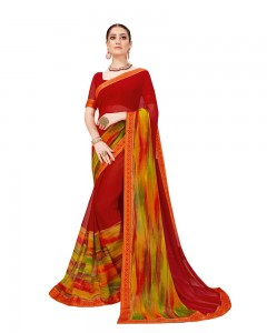 Comet Busters Red Georgette Saree with Printed Border