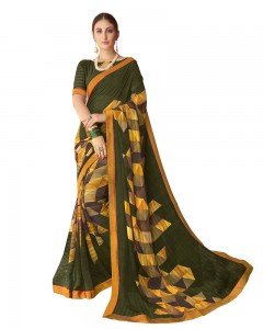 Comet Busters Beautiful Printed Olive Saree