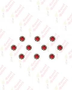 Comet Busters Beautiful Red Velvet Bindi With Golden Stone Border (8mm)