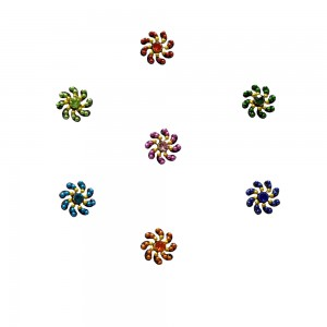 Comet Busters Fancy Round Bindis With Colorful Stone and Beads (BIN1115)