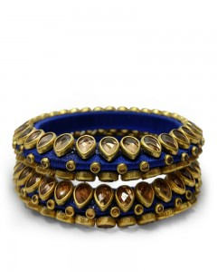 Comet Busters Beautiful Threaded Blue Bangles for Women