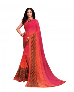 Comet Busters Hot Pink Printed Georgette Saree With Border