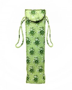 Comet Busters Handicraft - Green Printed Cotton Water Bottle Bag Carry Cover with Handles