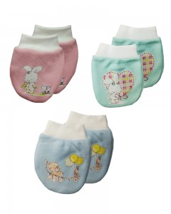 Comet Busters Premium Elastic-Free Mittens for New Born Baby  (Pack of 3) (0-3 Months)