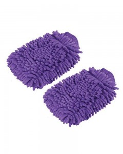 Comet Busters Microfibre Super Mitt Double Sided Purple Cleaning Gloves (2 Pieces)