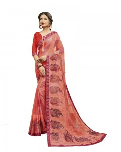 Comet Busters Women's Peach Printed Georgette Saree With Border