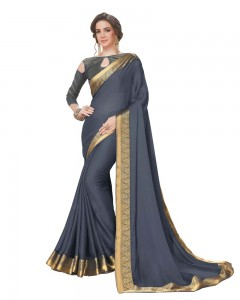 Comet Busters Grey Georgette Saree with Resham Border