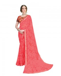 Comet Busters Printed Georgette Peach Pink Saree with Border