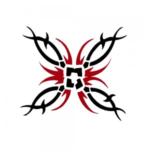 Comet Busters Black and Red Temporary Water Tattoo Sticker (BJ102)