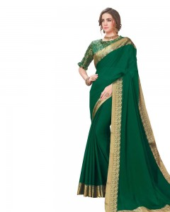 Comet Busters Dark Green Georgette Saree with Resham Border