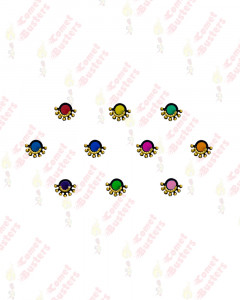 Comet Busters Beautiful Multicolor Round Bindis WIth Gold Beads