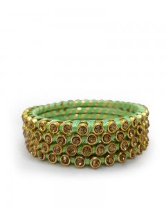 Comet Busters Peach Green Thread Bangles for Women