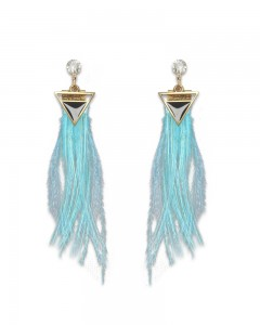 Comet Busters Turquoise Blue Feathers Latest Stylish Long Tassel Earrings for Women & Girls