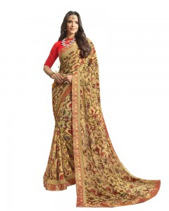 Comet Busters Printed Beige Georgette Sari With Zari Border
