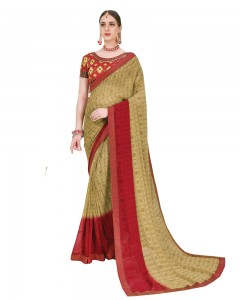 Comet Busters Printed Georgette Beige Saree with Border