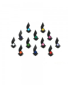 Comet Busters Black Bindi with Multicolored Squares