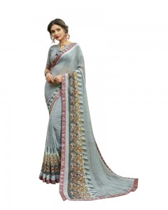 Comet Busters Women's Printed Grey Georgette Saree With Border