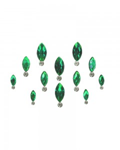 Comet Busters Green Swarovski Crystal Bindis With Diamond