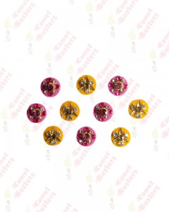Comet Busters Yellow and Pink Round Bindi With Stone Crystals