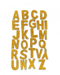 Comet Busters Self Adhesive Golden Glitter 3D Alphabet Stickers