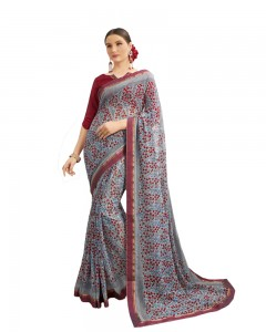 Comet Busters Georgette Grey Saree