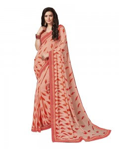 Comet Busters Peach Orange Printed Georgette Sari With Border