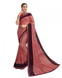 Comet Busters Georgette Chestnut Brown Saree