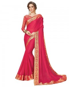 Comet Busters Pink Georgette Saree with Resham Border