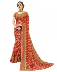 Comet Busters Printed Orange Georgette Sari With Zari Border