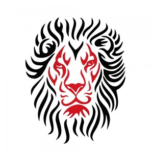 Comet Busters Red and Black Lion Body Water Temporary Tattoo (BJ127)