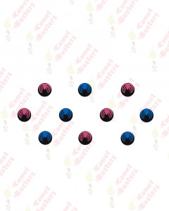 Comet Busters Black Round Bindi With Blue and Pink Design
