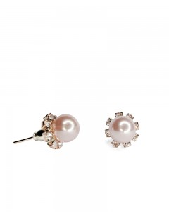 Comet Busters Elegant Rose Gold Pearl With Diamond Stud Earrings for Women and Girls