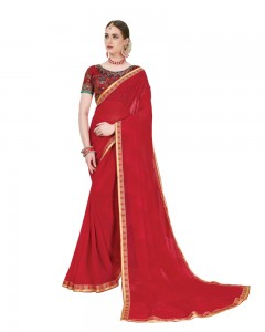 Comet Busters Printed Georgette Red Saree with Border