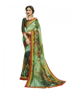 Comet Busters Women's Green Printed Georgette Saree With Border