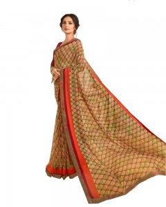 Comet Busters Tan Brown Printed Saree With Blouse