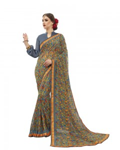 Comet Busters Printed Grey Georgette Sari With Zari Border
