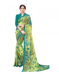 Comet Busters Green Printed Georgette Sari With Border