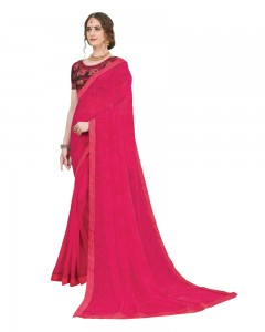 Comet Busters Printed Georgette Pink Saree with Border