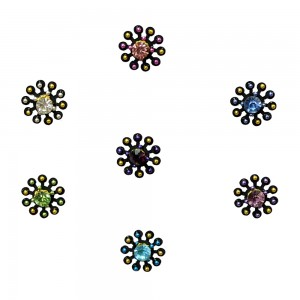 Comet Busters Fancy Round Bindis With Colorful Stone and Beads (BIN1114)