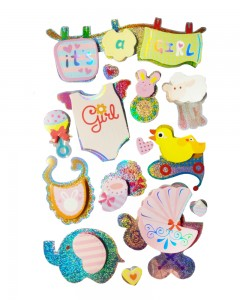 Comet Busters It's a Girl 3D Decorative Stickers