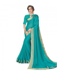 Comet Busters Blue Georgette Saree with Resham Border