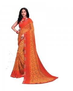 Comet Busters Orange Printed Georgette Saree With Border
