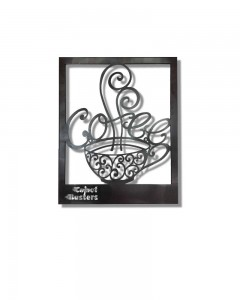 Comet Busters Metal Wall Mounted Hanging CNC Cutting Coffee Cup Wall Decor (15 inch x 12 inch)