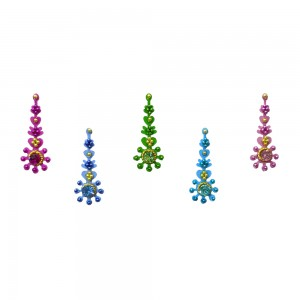 Comet Busters Multicolor Long Bindis With Stone Work (BIN1102)