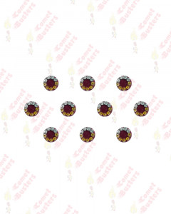 Comet Busters Maroon Round Bindis With Silver and Gold Stone Border (7 mm)