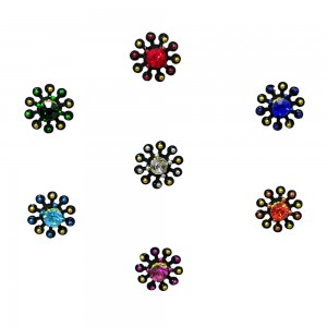 Comet Busters Fancy Round Bindis With Colorful Stone and Beads (BIN1113)