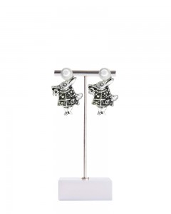 Comet Busters Stylish Silver and Pearl Earrings for Women and Girls