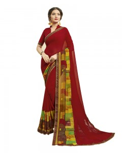 Comet Busters Women's Red Printed Georgette Saree With Border