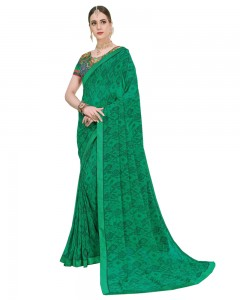 Comet Busters Printed Georgette Green Saree with Border